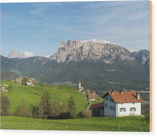 View Towards The Seiser Alm, Seen Wood Print