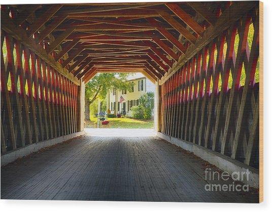 View Through A Covered Bridge Wood Print