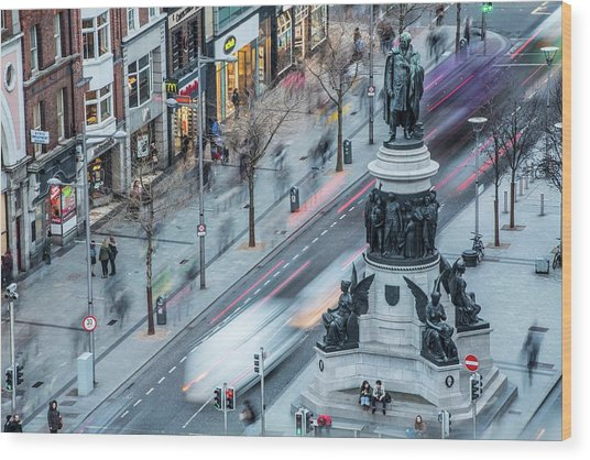 Viewpoint Over Oconnell Street, Dublin Wood Print by David Soanes Photography