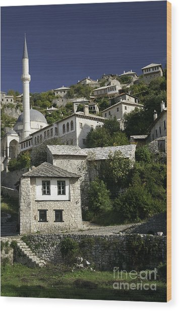 views of pocitelj in Bosnia Hercegovina with minaret bridge and river Wood Print