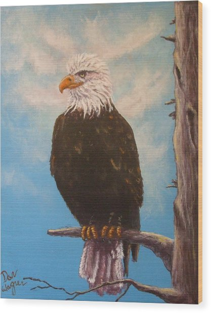 Vigilant Eagle Wood Print