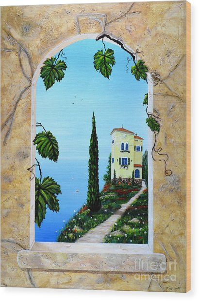 Villa By The Sea Wood Print
