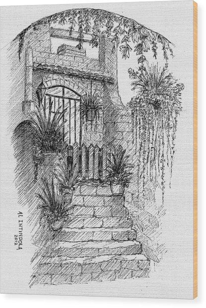 Villa Doorway Wood Print