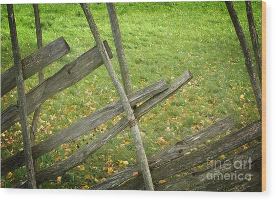 Village Fence Wood Print by Jolanta Meskauskiene