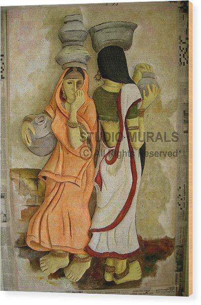 Village Wood Print by Milind Badve