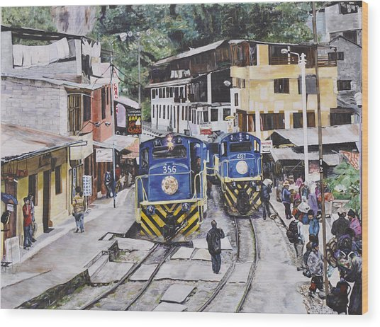 Village Of Aquas Calientes Wood Print