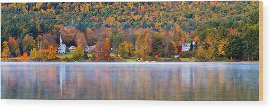 Village On Crystal Lake Autumn  Wood Print