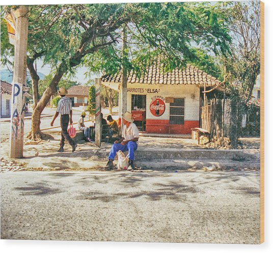 Village Street Scene Wood Print