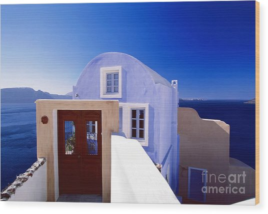 Villas Overlooking The Aegean Sea Wood Print