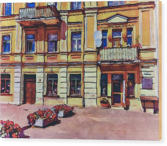 Vilnius Old Town Architecture Wood Print by Yury Malkov