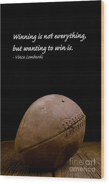 Vince Lombardi On Winning Wood Print