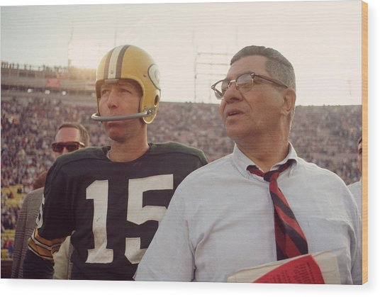 Vince Lombardi With Bart Starr Wood Print