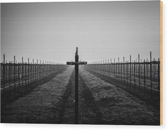 Vineyard Cross Wood Print