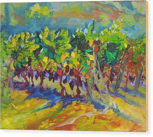 Vineyard Harvest Oil Painting Wood Print