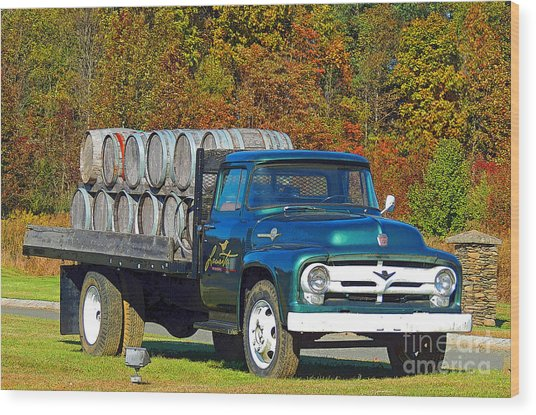 Vineyard Truck Wood Print by Marian DeSalvo-Rodgers