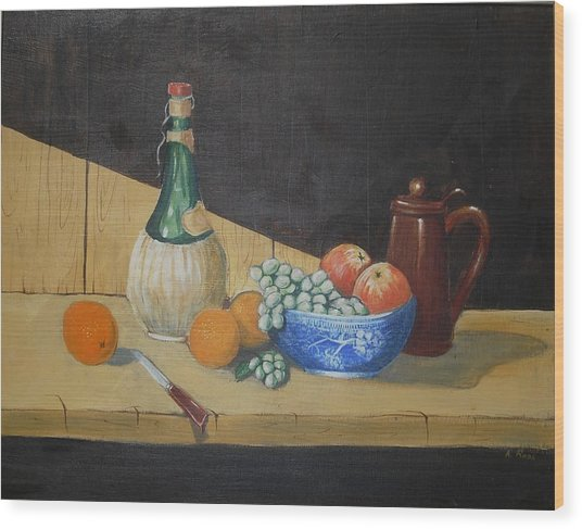 Vino And Fruit Wood Print