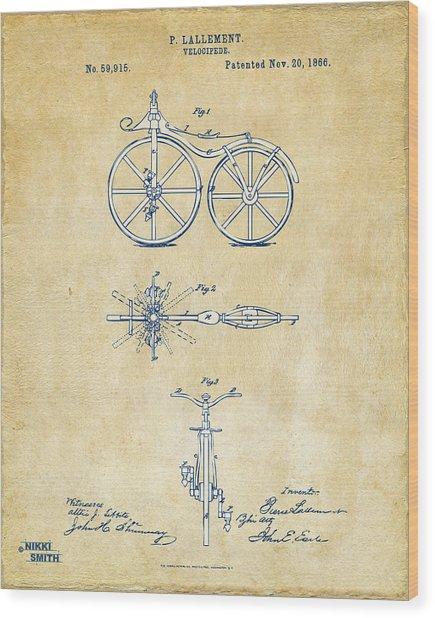 Vintage 1866 Velocipede Bicycle Patent Artwork Wood Print