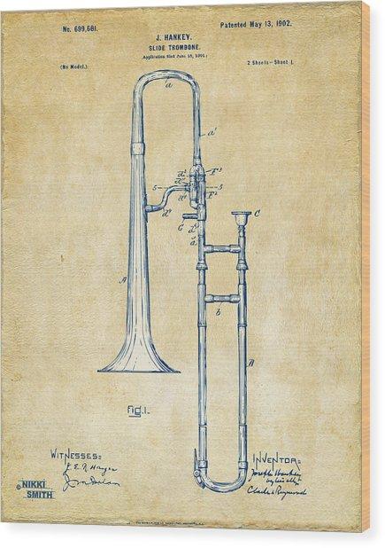 Vintage 1902 Slide Trombone Patent Artwork Wood Print