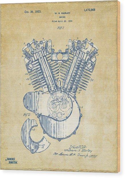 Vintage 1923 Harley Engine Patent Artwork Wood Print