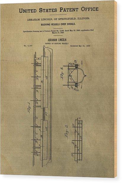 Vintage Abraham Lincoln Patent Wood Print