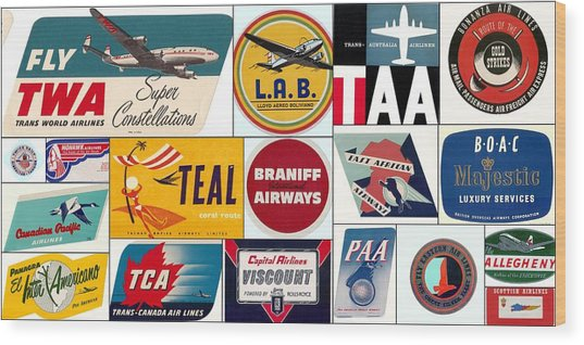 Vintage Airlines Logos Wood Print