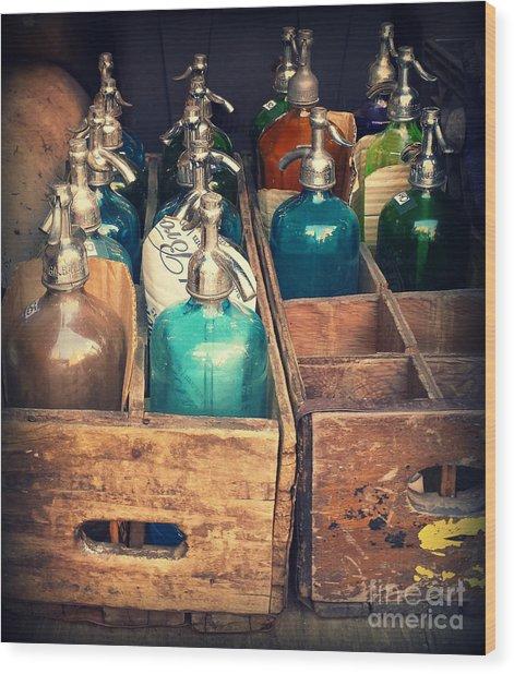 Vintage Antique Seltzer Bottles Wood Print