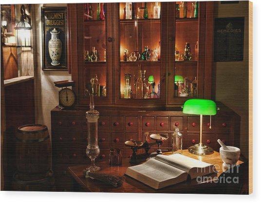 Vintage Apothecary Shop Wood Print