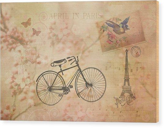 Vintage April In Paris Wood Print