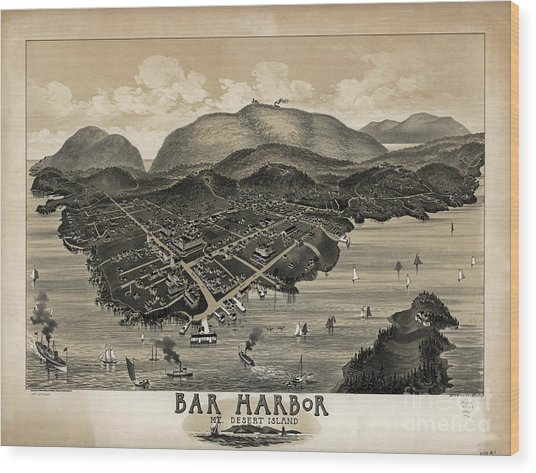 Vintage Bar Harbor Map Wood Print