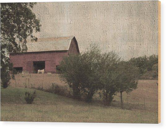 Vintage Barn Scene Wood Print