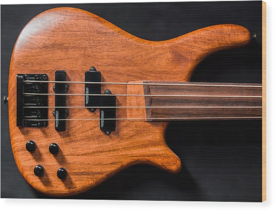 Vintage Bass Guitar Body Wood Print