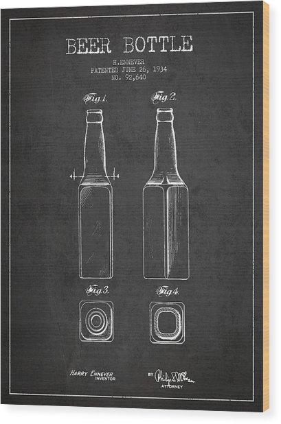 Vintage Beer Bottle Patent Drawing From 1934 - Dark Wood Print