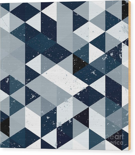 Vintage  Blue And White Triangle Wood Print