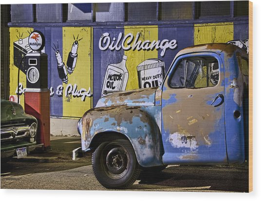 Vintage Blue Pickup And Gas Station Near Bisbee Az Wood Print
