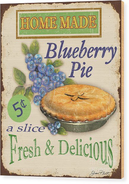 Vintage Blueberry Pie Sign Wood Print