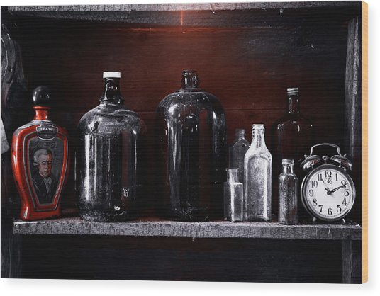 Vintage Bottles Wood Print