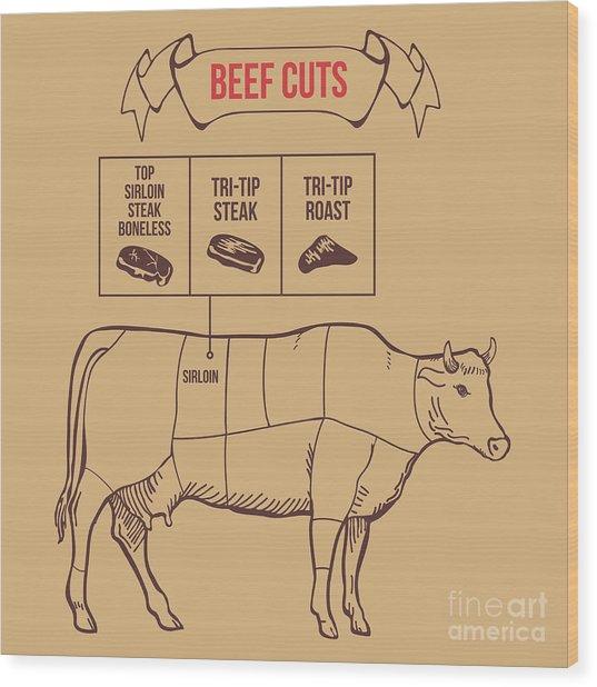 Vintage Butcher Cuts Of Beef Scheme Wood Print by Dimair