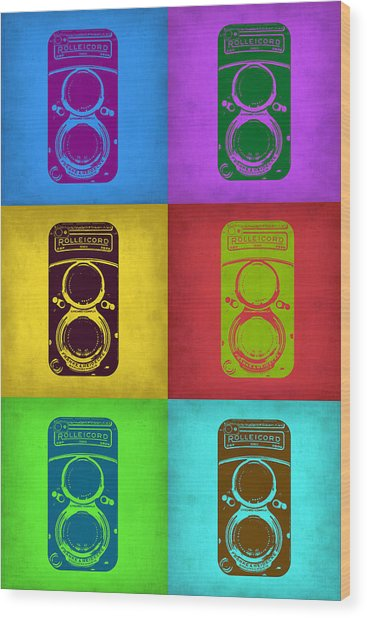 Vintage Camera Pop Art 2 Wood Print