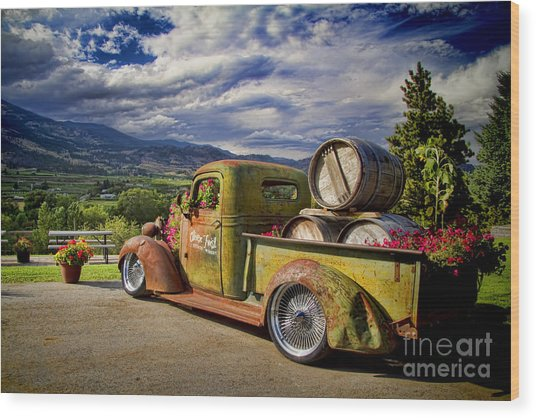 Vintage Chevy Truck At Oliver Twist Winery Wood Print
