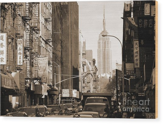 Vintage Chinatown And Empire State Wood Print