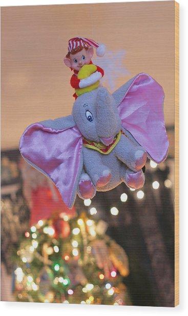 Vintage Christmas Elf Flying With Dumbo Wood Print