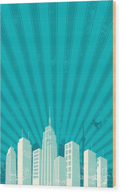Vintage City Background. A4 Proportions Wood Print