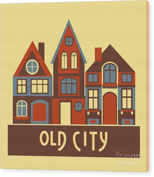 Vintage City Houses On Yellow Background Wood Print
