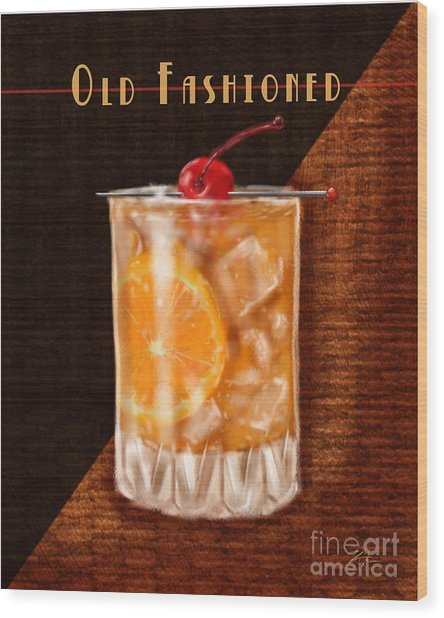 Vintage Cocktails-old Fashioned Wood Print
