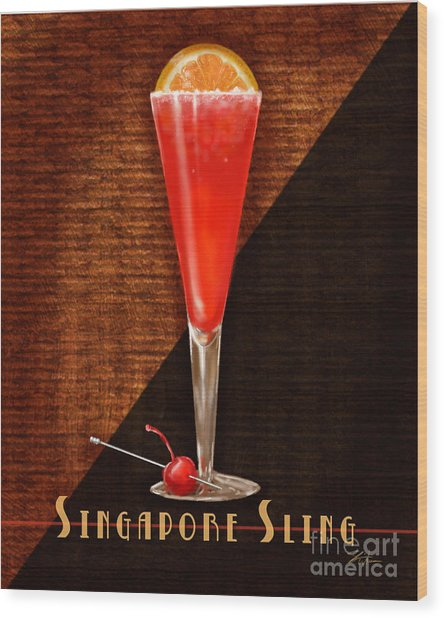 Vintage Cocktails-singapore Sling Wood Print