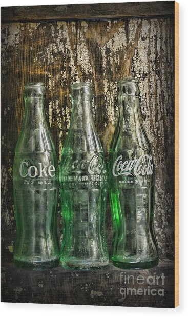 Vintage Coke Bottles Wood Print