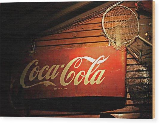 Vintage Coke-cola Sign Wood Print by Linda Phelps