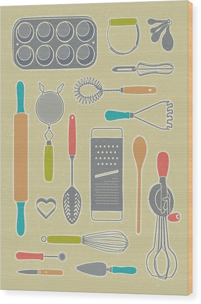 Vintage Cooking Utensils Wood Print