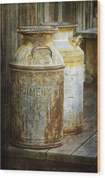 Vintage Creamery Cans In 1880 Town In South Dakota Wood Print