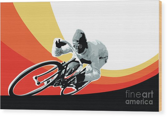 Vintage Cyclist With Colored Swoosh Poster Print Speed Demon Wood Print